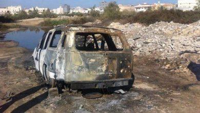 صورة العثور على السيارة التاهو المسروقة في سيهات محروقة
