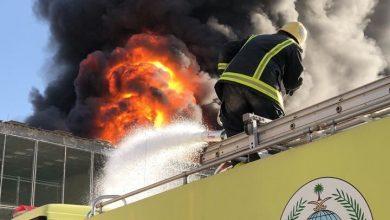 صورة الرياض: حريق ضخم يسبب إنقطاع بالكهرباء
