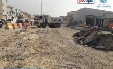صورة بدء أعمال صيانة شارع إبراهيم الشاطبي بسيهات