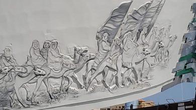 صورة بالصور.. «دوار البيرق».. أكبر منحوتة وطنية تُدشن في اليوم الوطني 90 للمملكة